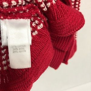 St. John Sweaters - ST. JOHN   RED & WHITE RIBBED KNIT TOP SWEATER   M